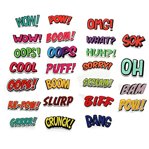 FNGEEN Stickers Pack Superhero Sounds Sayings Word Cutouts S