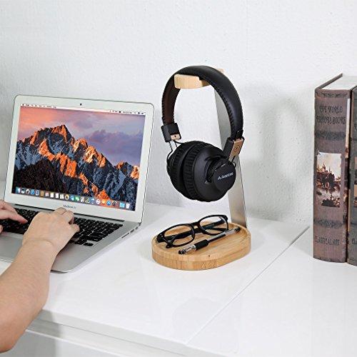 Avantree Universal Wooden & Aluminum Headphone Stand Hanger with Cable Holder, Sturdy Desk Headset Mount Rack for Sony, Bose, Shure, Jabra, JBL, AKG, Gaming Headphones Display - TR902