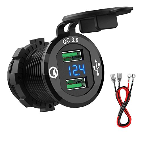 (HiGoing 12V/24V Marine USB Outlet, Waterproof QC3.0 Dual USB Charger Socket with Voltage LED Digital Display for Car Boat Motorcycle Mobile (Upgraded with)