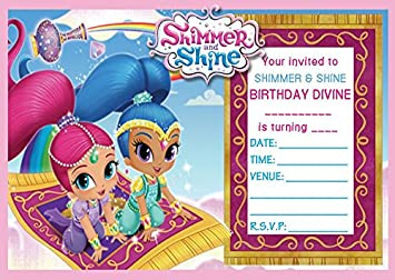shimmer shine childrens birthday party invites invitations x 10