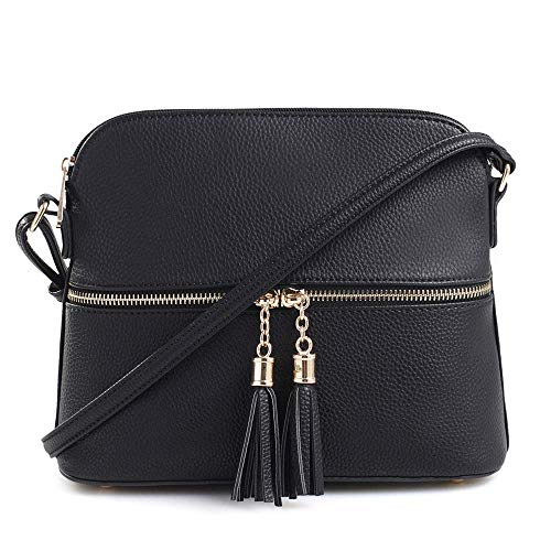 Lightweight Medium Dome Crossbody Bag with Tassel Zipper Pocket Adjustable Strap