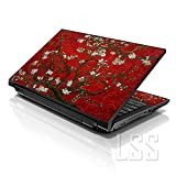 LSS 15 15.6 inch Laptop Notebook Skin Sticker Cover Art Decal Fits 13.3' 14' 15.6' 16' HP Dell Lenovo Apple Asus Acer Compaq (Free 2 Wrist Pad Included) Red Almond Trees