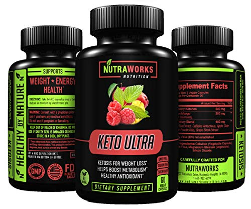 Keto Ultra Diet Pills - Extra Strength Ketogenic Fat Burner for Healthy Weight Loss & Metabolism Support - Raspberry Ketones, African Mango, Green Tea Extract, Caffeine Anhydrous & Apple Cider Vinegar