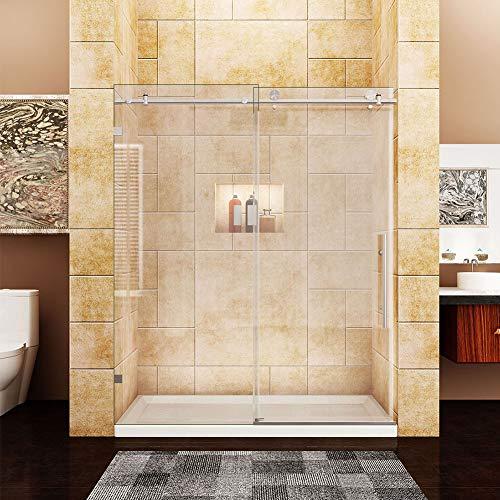 Steel Framed Stainless Glass - SUNNY SHOWER Frameless Sliding Shower Doors, 58.5