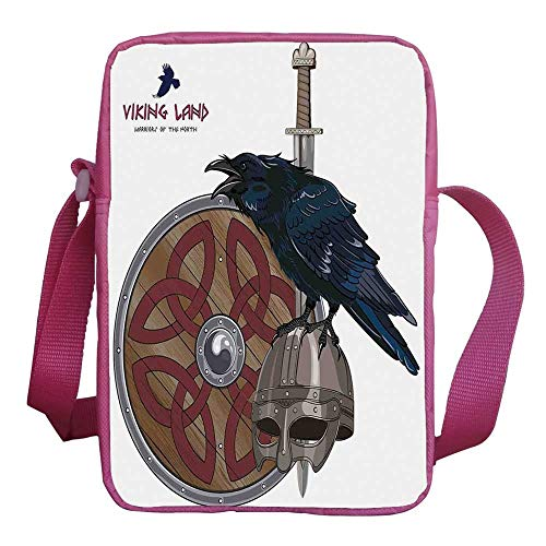 (Viking Stylish Kids Crossbody Bag,Raven on Steel Helmet Nordic Sword Shield Warfare Scandinavian Army Medieval Armour for Girls,9