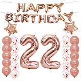 22th Birthday Decorations Party Supplies,22th Birthday Balloons Rose Gold,Number 22 Mylar Balloon,Latex Balloon Decoration,Great Sweet 22th Birthday Gifts for Girls,Photo Props