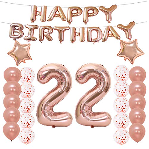 LQQDD 22th Birthday Decorations Party Supplies22th Balloons Rose GoldNumber 22 Mylar