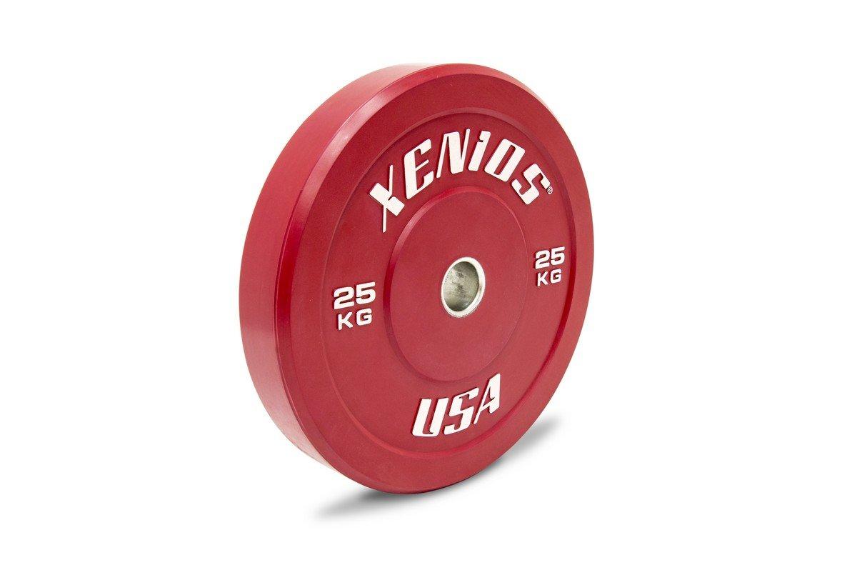 Xenios USA Gummi Bumper Plate mit Zentralem Edelstahlring, Rot, 25 kg, PSBPRBPL25