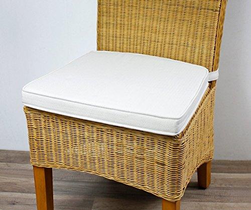 4er Set Sitzkissen Sitzpolster Beige meliert aus 100% Baumwolle Stuhlkissen