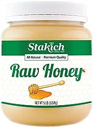 Stakich RAW HONEY - 100% Pure, Unprocessed, Unheated, KOSHER - 5 LB (80 oz)