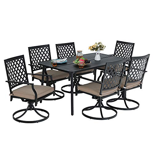 MF STUDIO 7-Piece Metal Outdoor Patio Dining Bistro Set with 6 Swivel Armrest Chairs and Steel Frame Slat Larger Rectangular Table, 59 x 35 x28 Table and 6 Backyard Garden Chairs, Black