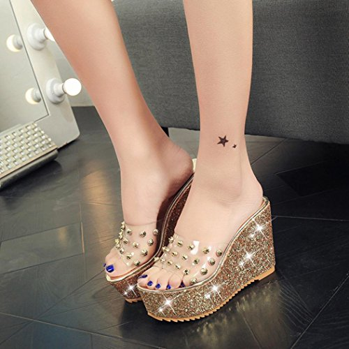 Slippers hunpta Transparent Wedge Gold Summer Sandals Waterproof Platform Slippers Women Sandals wTFBw