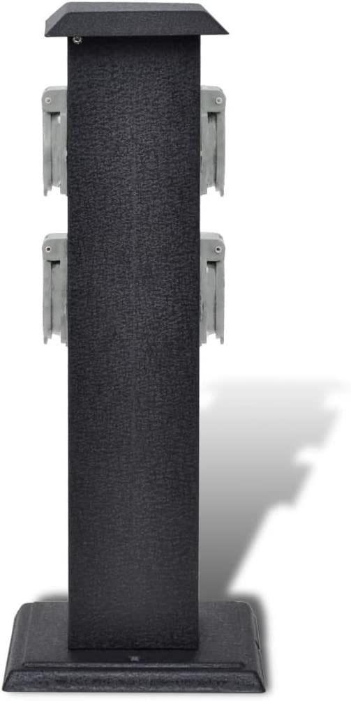 L x L x H Festnight Borne Jardin /Électrique 2 Prises Noir 15,5 x 15,5 x 40,5cm