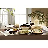 Signoraware Square Plastic Dinner Set, 36-Pieces, Off White and Maroon
