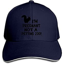 Runy Custom I'm Pregnant Not A Petting Zoo Adjustable Sandwich Hunting Peak Hat & Cap Navy