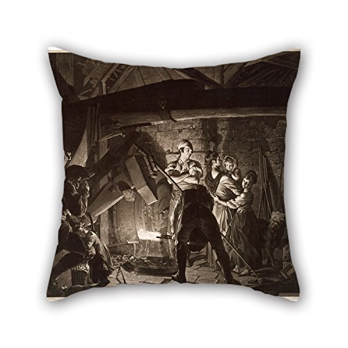 Cushion Cases Of Oil Painting Richard Earlom - An Iron Forge, After Joseph Wright Of Derby 20 X 20 Inch / 50 By 50 Cm,best Fit For Pub,bedding,girls,home Office,boy Friend,seat Each Side ()