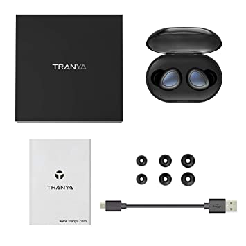 Bluetooth 5.0 Deep Bass True Wireless Earbuds Built-in Microphone, Tranya T3 Sports Wireless Headphones, 6-8 Hours Continuous Playtime, 60 Hours Total Playtime with Charging Case, IPX5 Water Proof
