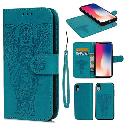 iPhone XR Card Holder Case, iPhone XR Wallet Case PU Leather Cover Shockproof Case with Credit Card Slot, Durable Protective Case for iPhone XR 6.1 inch (Embossed Elephant-Blue) - Elephant Embossed