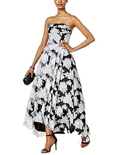 Organza Strapless A-line Skirt (Betsy & Adam Organza Floral-Print High-Low Gown (Black/White, 10))