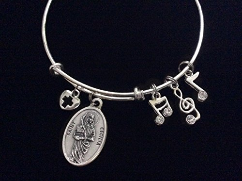 saint-cecilia-patron-of-musicians-and-singers-silver-expandable-charm-bracelet-music-notes-adjustabl