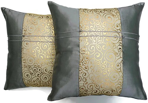 Set of Two Metallic Silver Silk Throw Cushion Pillow Covers Gold Print Middle Stripe for Decorative Living Room, Bed room Sofa Car Size 16 x16 Inches