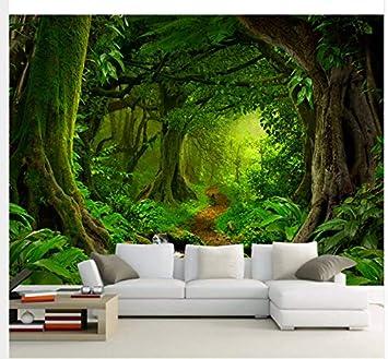 Carta Da Parati Bosco.Carta Da Parati Personalizzata 3d Tropici Foreste Cascata