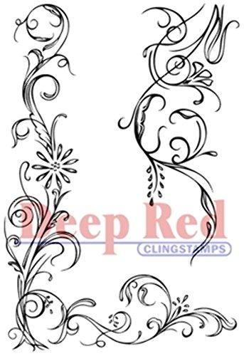 Deep Red Stamps Vine Corner and Border Rubber Stamp Set