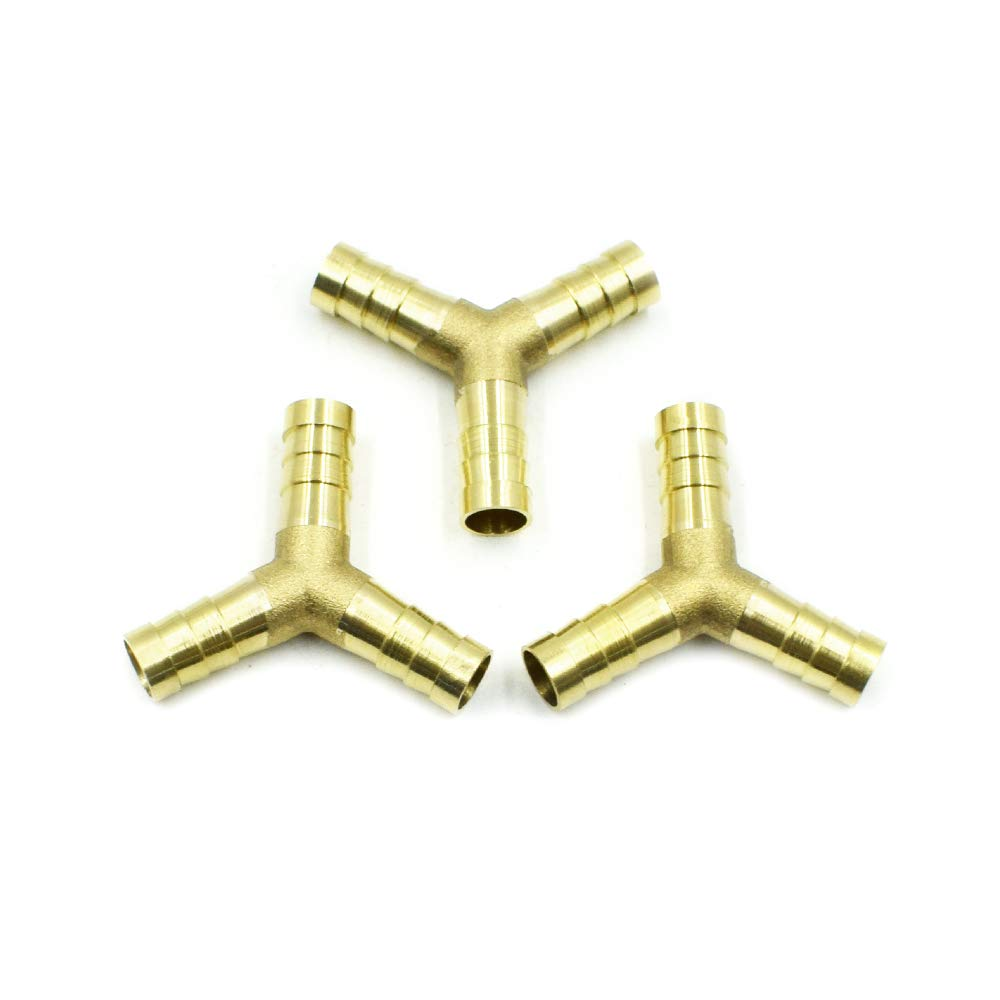 LICTOP 3//8 inch 3 Ways Y-Piece Brass Air Gas Hose Barb Connector Joiner Coupler Metal Gold 3 Pcs