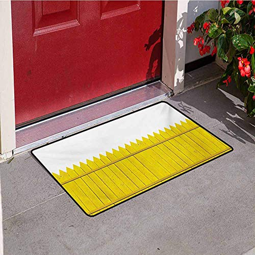 Jinguizi Yellow Inlet Outdoor Door mat Colorful Wooden Picket Fence Design Suburban Community Rural Parts of Country Catch dust Snow and mud W23.6 x L35.4 Inch Yellow Mustard