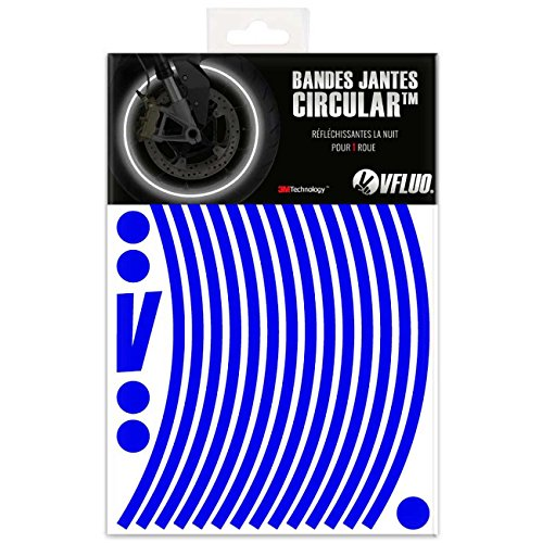 VFLUO CIRCULAR, Motorcycle retro reflective wheel stripes kit (1 wheel), 3M Technology, 10 mm width, Blue by VFLUO