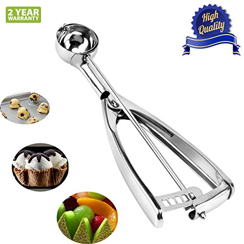 Ice Cream Scoop with Trigger, 18/8 Stainless Steel Metal Small Cookie Dough Scoop for Baking Melon Ball Cupcakes, 1/2 Tablespoon (2 Teaspoon)