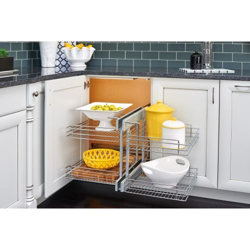 Rev-A-Shelf - 5PSP-18SC-CR - 18 In. Blind Corner Cabinet Pull-Out Chrome 2-Tier Wire Basket Organizer with Soft-Close ()