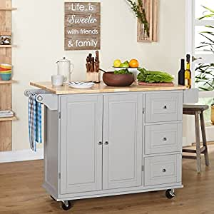 Amazing Kitchen Islands On Wheels Drop Leaf Utility Cart Mobile Breakfast Bar With  Storage Drawers Towel And