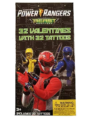 (Power Ranger Beast Morphers 32 Valentines with 32 Tattoos)