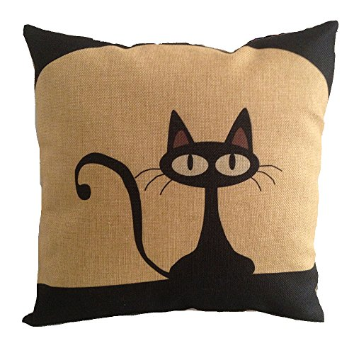Acala 18 X 18 Inch Cotton Linen Decorative Throw Pillow Cover Cushion Case, Cartoon Black Cat (E)