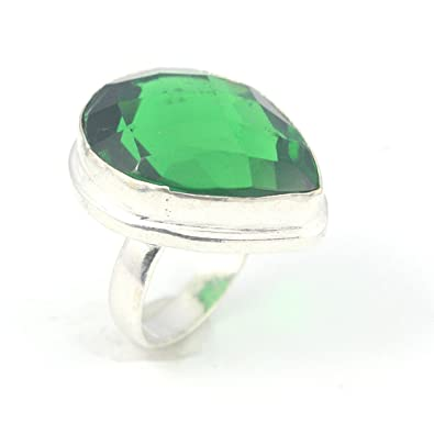 BEST QUALITY TSAVORITE FASHION JEWELRY .925 SILVER PLATED RING 5.5 S24041