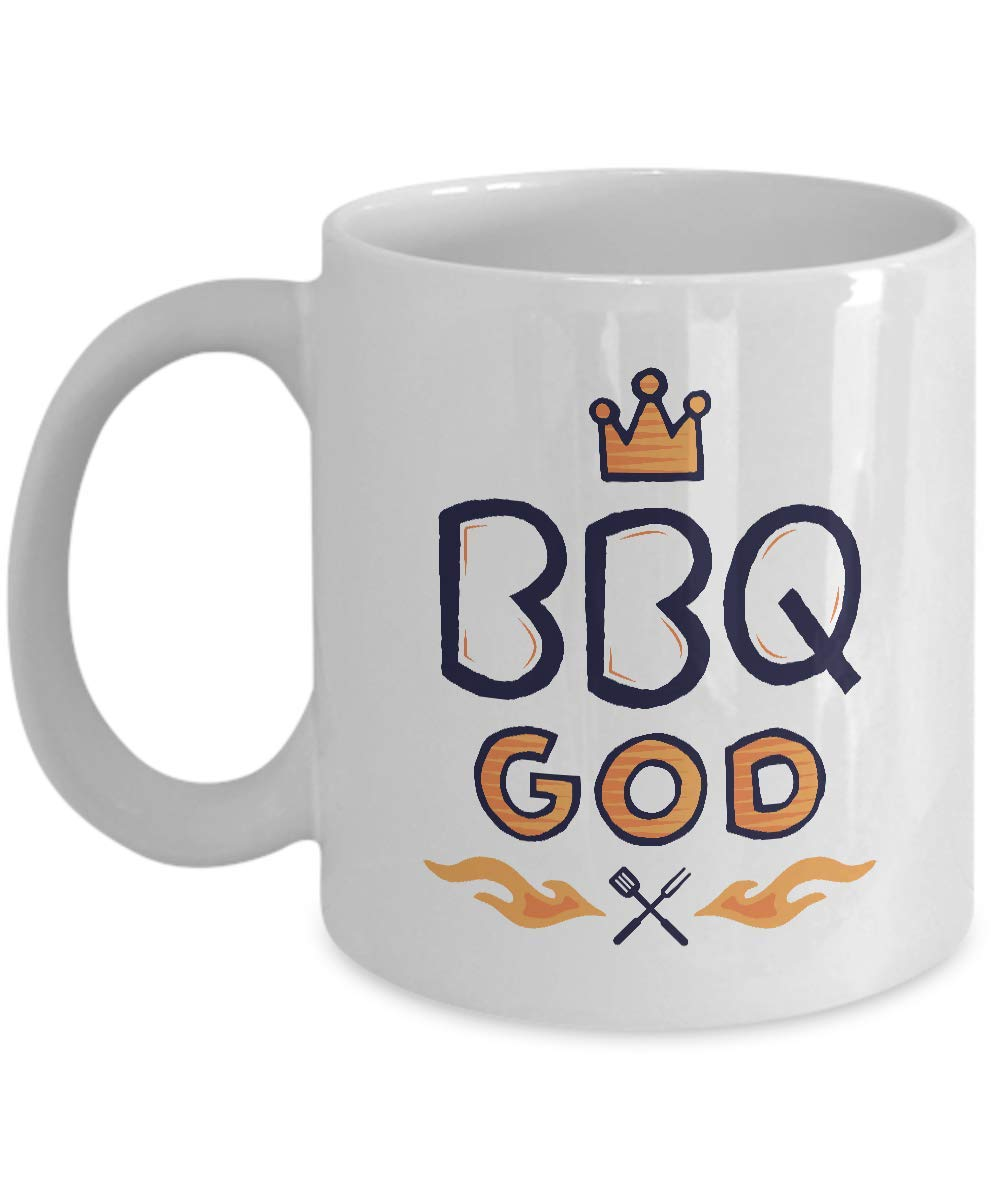 シェフコーヒーマグ - BBQゴッド - スパチュラ泡立て器ストレーナー ナイフカップ ガラススプーン フォーク おいしいプレート 食品 キッチン ステーキグリル エプロン ペッパー ソルト11オンス   B07R8RXCVX