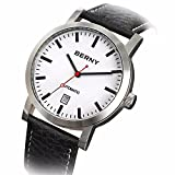 Berny AM7068 Men Calfskin Automatic Watch, Date Display, 50 M Waterproof, All Steel Design