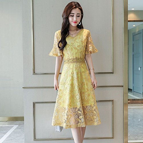 Neige de MiGMV Long air Robe Fe Jupe Women's S Style Robes Yellow Spun qnqAzSY