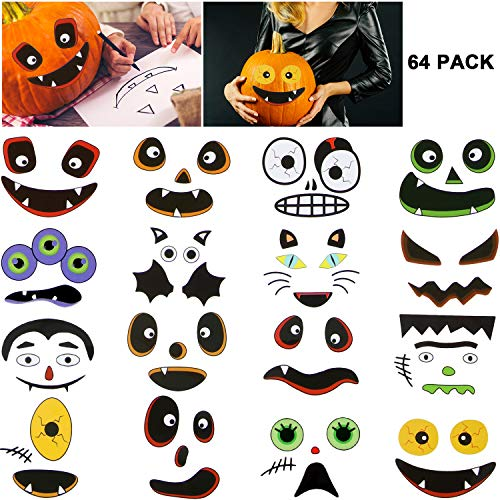 Boao 16 Sheets Halloween Stickers Pumpkin Face Stickers Pumpkin Craft Decorations for Halloween Jack-O-Lantern Pumpkin Decoration (The Best Pumpkin Faces)