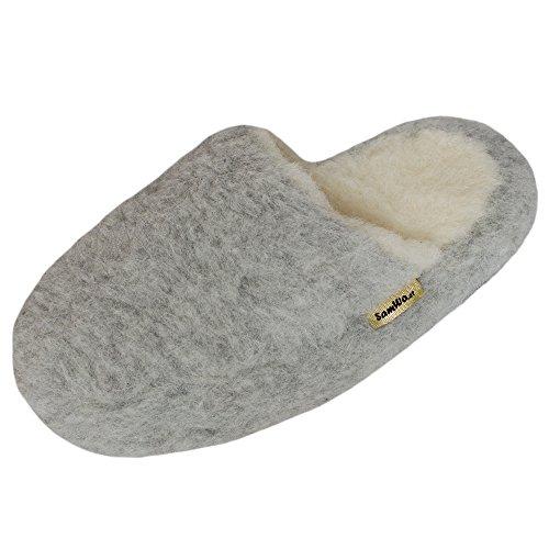 SamWo Schafwoll-Wohlfühl-Hausschuhe/Pantoffeln,Weiche Rutschfeste Sohle,100% Schafwolle SWH 43-44 | Hellgrau