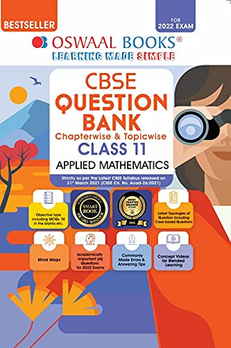 Oswaal CBSE Question Bank Class 11 Applied Mathematics Book Chapterwise & Topicwise (For 2022 Exam)