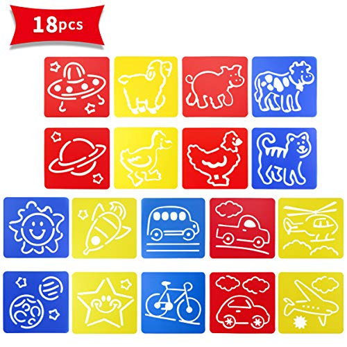 Owevvin 3 Sets 18 Pieces Colorful Drawing Template Kit, Drawing Paint Stencil Templates for Kids,Plastic Washable Shape Stencils, Drawing Spraying Templates