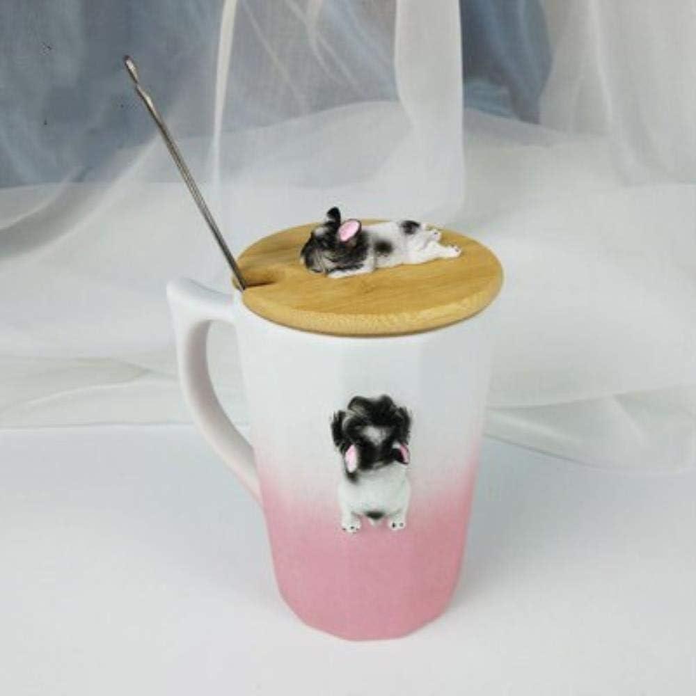 HENGCHENG Cerámica Tazas Regalo Dibujos Animados Creativos 3D Corgi Bulldogs De De Amante De Mascotas para Niños Pareja Estudiante De Leche De Café para Amigo De, CF 2