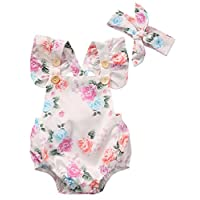 Botones estampados de flores de Canis Baby Girls con volantes (90 (6-12M), Blanco)