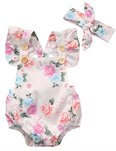 (Canis Baby Girls' Full Flower Print Buttons Ruffles Romper Bodysuit with Headband (70(0-3M), White))