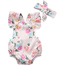 Canis Baby Girls' Full Flower Print Buttons Ruffles Romper Bodysuit with Headband