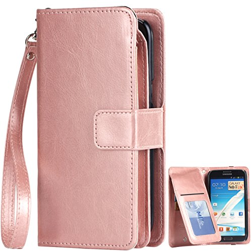 Note 2 Case, Note 2 Wallet Case, BENTOBEN [9 Card Slots] PU Leather Flip Folio Wallet Case Money Pocket with Wristlet Protective Case for Samsung Galaxy Note 2 II N7100, Rose Gold (Samsung Note 2 Cases For Women compare prices)