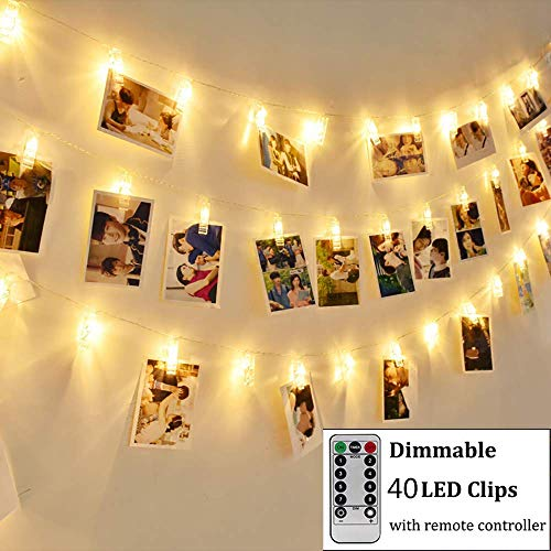 GreenClick LED Photo Clip Remote String Lights, Battery Operated 40 Indoor String Lights Bedroom Fairy Lights with 8 Modes for Hanging Pictures, Cards, Artwork