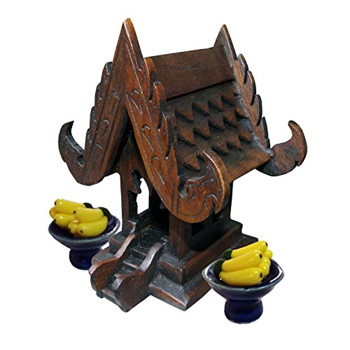- Thai Buddhist Spirit House Buddha Altar Temple Haunted House Teak Craft Size 5 Inches Height Miniature